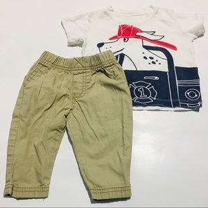 Doggy Fire Truck Tee And Khakis